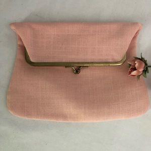 Vintage Pink Linen Fold Over Clutch Purse Handbag